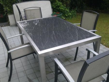 gartentisch edelstahl steinplatte. Black Bedroom Furniture Sets. Home Design Ideas